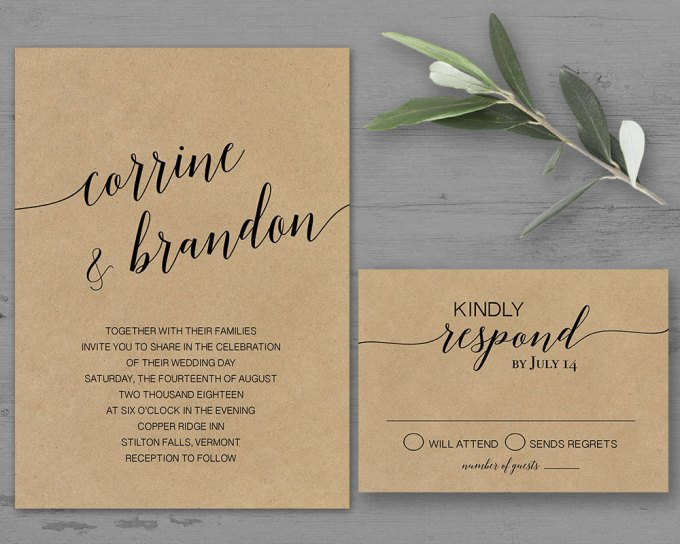 simple kraft via free wedding invitations giveaway | http://emmalinebride.com/2017-giveaway/giveaway-win-free-wedding-invitations/