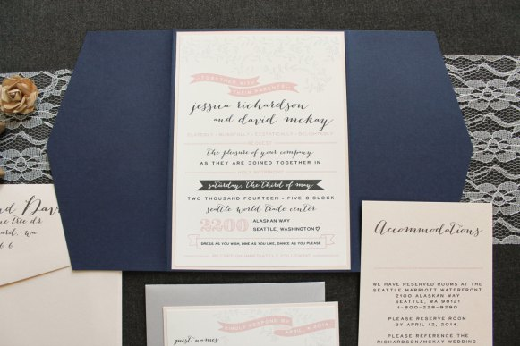 whimsical blush navy invitations 3