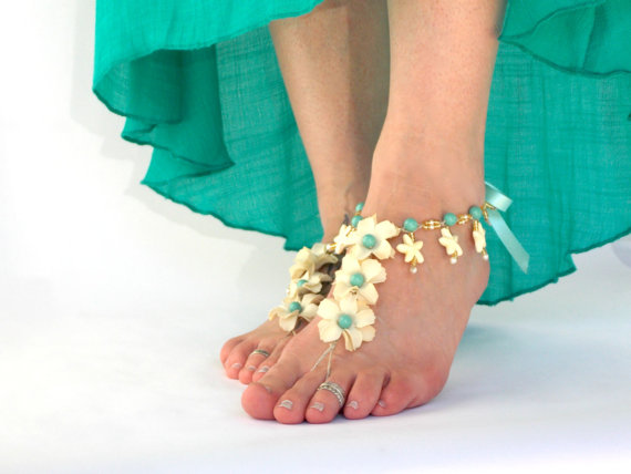 Walking down the aisle barefoot - barefoot sandals by Destination Barefoot   via http://emmalinebride.com/bride/walking-down-the-aisle-barefoot/
