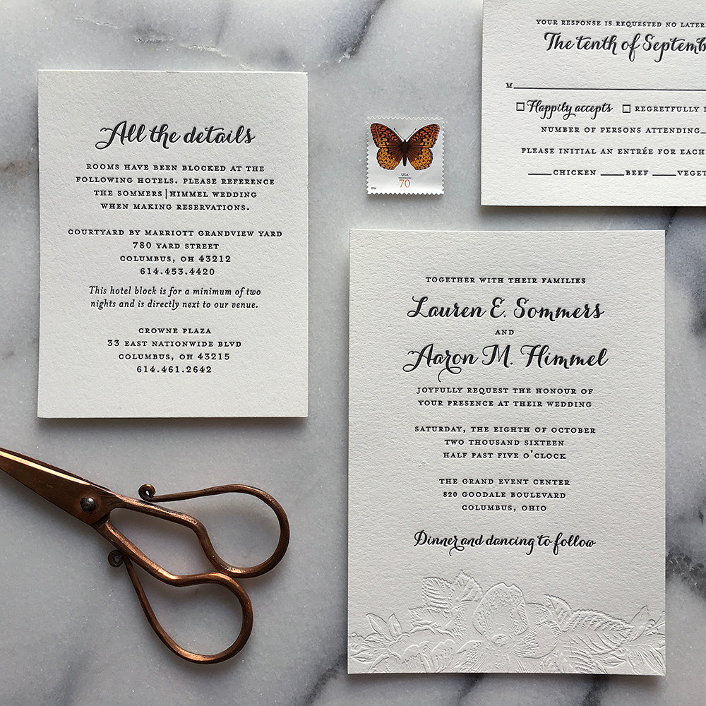 Are letterpress invitations worth it? | Letterpress invitations by CheerUp Letterpress Co. | http://emmalinebride.com/invites/are-letterpress-invitations-worth-it/