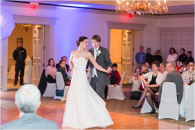 bride and groom dance at this Sedgefield Country Club wedding| Greensboro, North Carolina winter wedding photographed by Michelle Robinson Photography - http://emmalinebride.com/real-weddings/sedgefield-country-club-wedding/