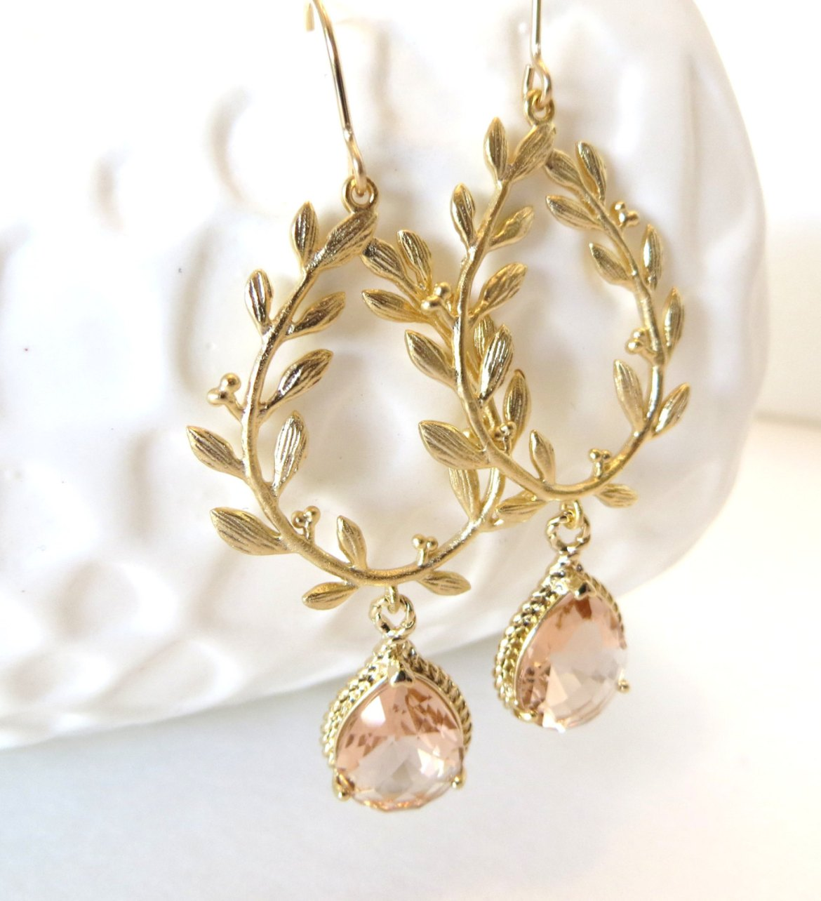 gold laurel wreath earrings