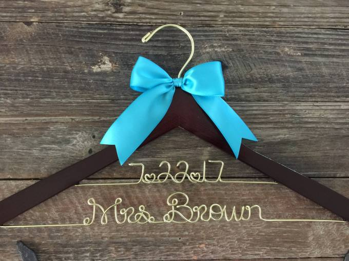 Wedding Dress Hanger Personalized - Bride Gift Ideas | Emmaline Bride