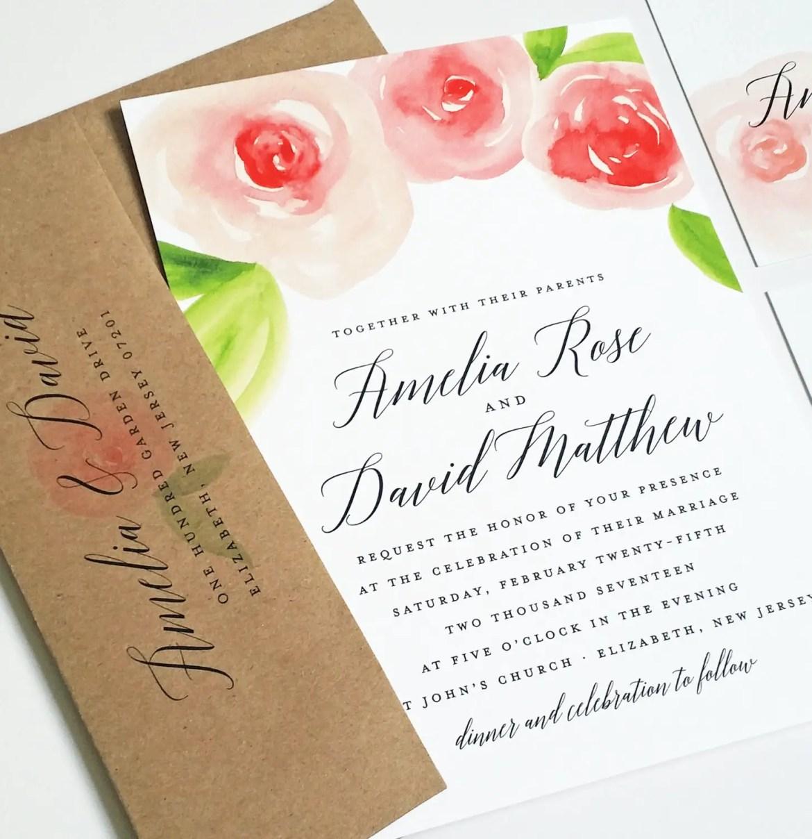 Rose Watercolor Wedding Invitations | Emmaline Bride