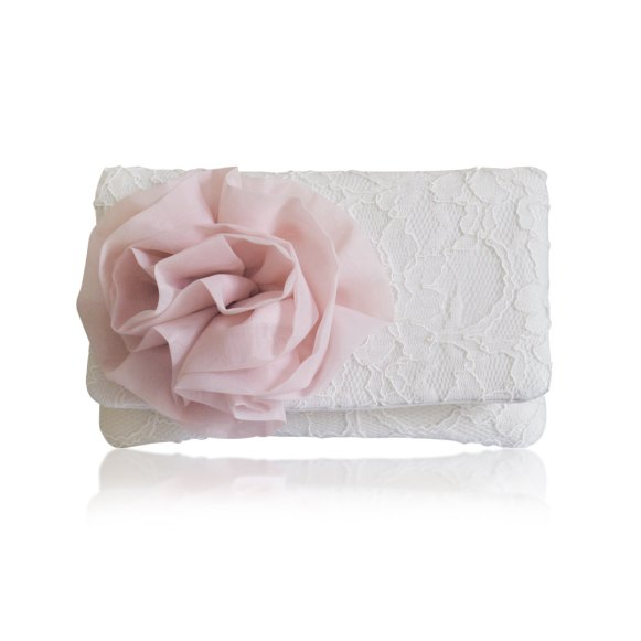 blush and ivory clutch