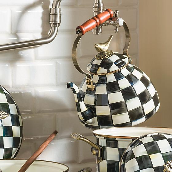 courtly check tea kettle with bird 2