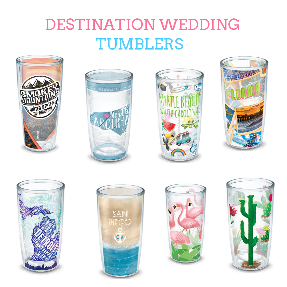 personalized tumblers for bridesmaids, groomsmen, wedding party