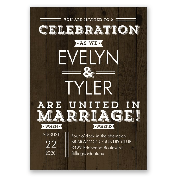 rustic wood inspired invites - where to buy affordable wedding invitations