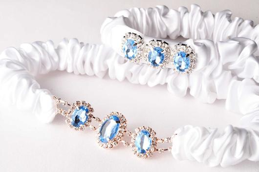 something blue - beautiful wedding garters by Knotted & Bent