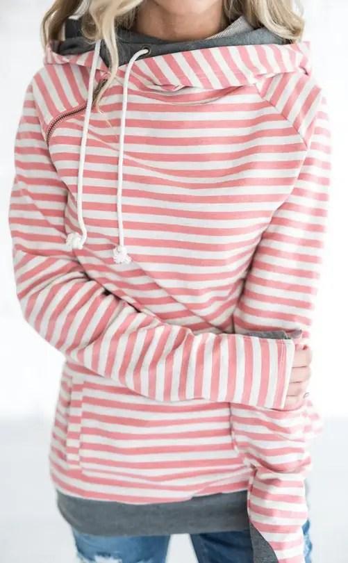 pink stripe doublehood bridesmaid sweatshirts
