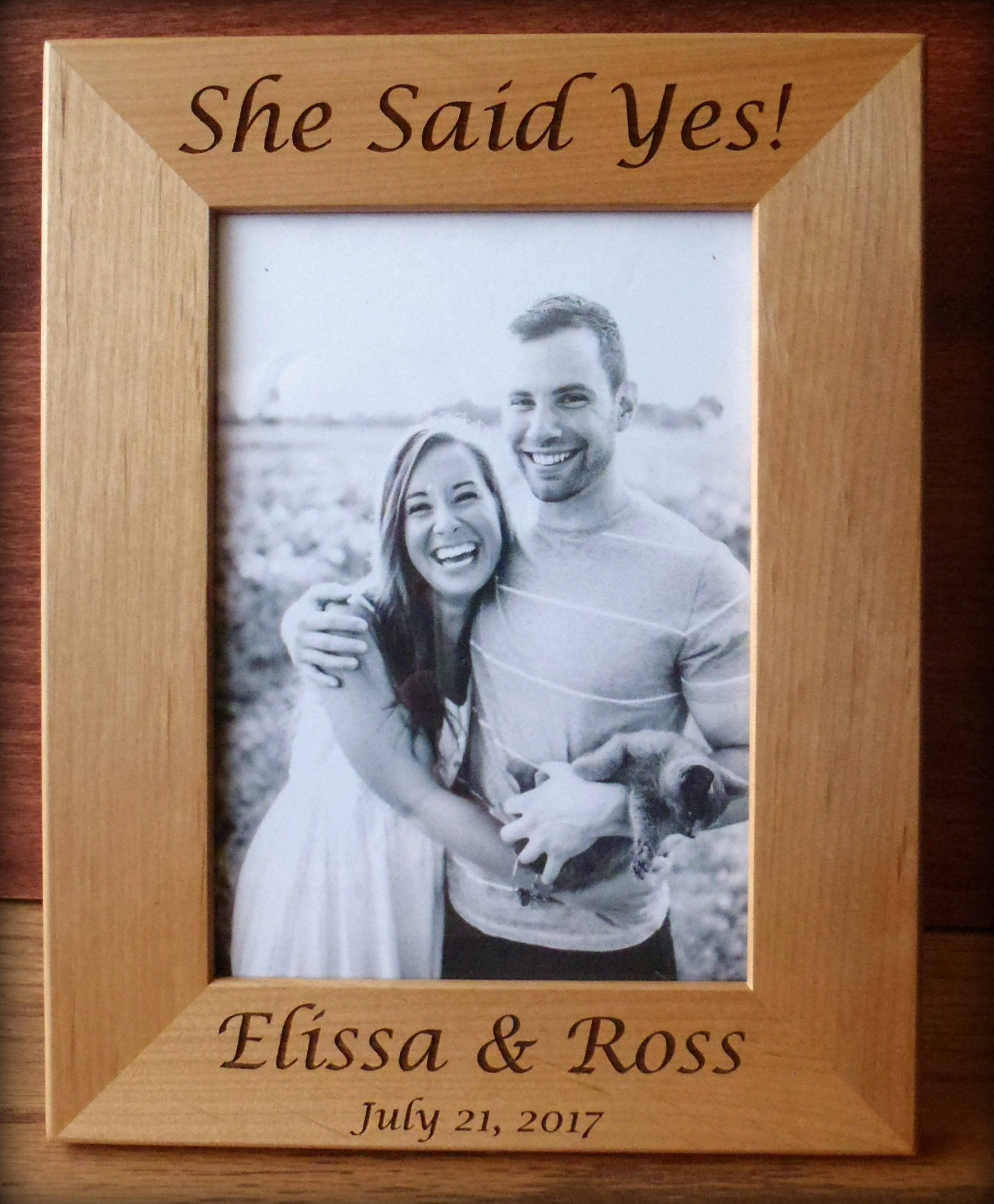 She Said Yes Picture Frame - Engagement Gifts | Emmaline Bride