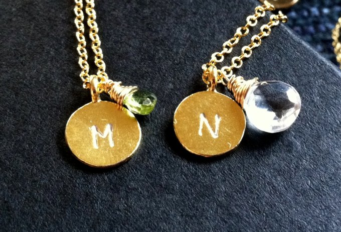 initial disc necklaces with birthstones by artwark