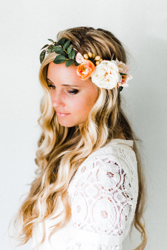 35 Beautiful Wedding Flower Crowns // via http://emmalinebride.com/bride/wedding-flower-crowns/