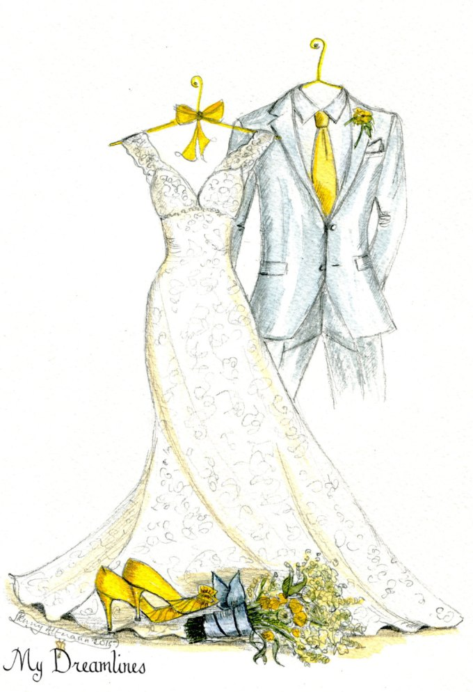 Wedding Dress Sketch Made of Your Bridal Gown | Emmaline Bride®