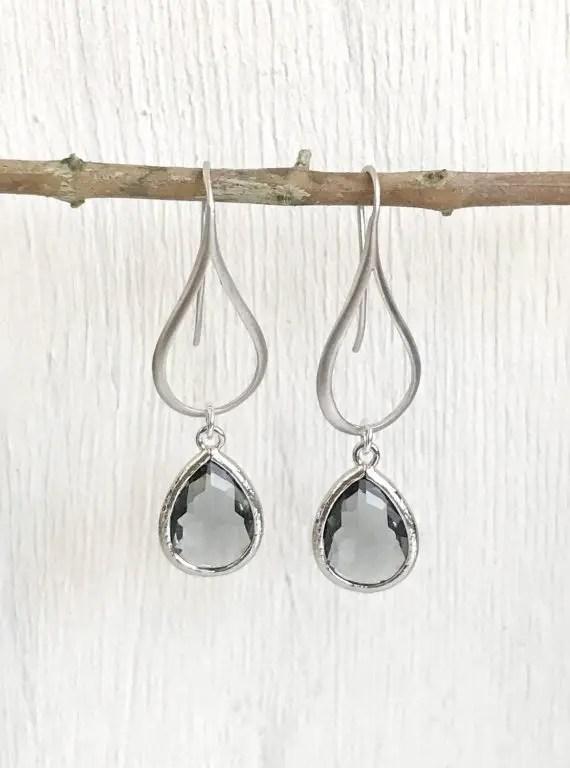 charcoal grey drop earrings