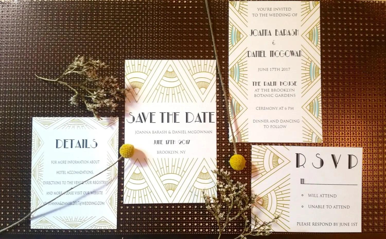 Gatsby Wedding Invitation Art Deco 1920s Invitations Emmaline Bride