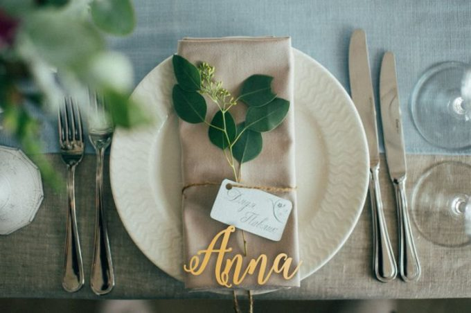 wedding place settings with wood names