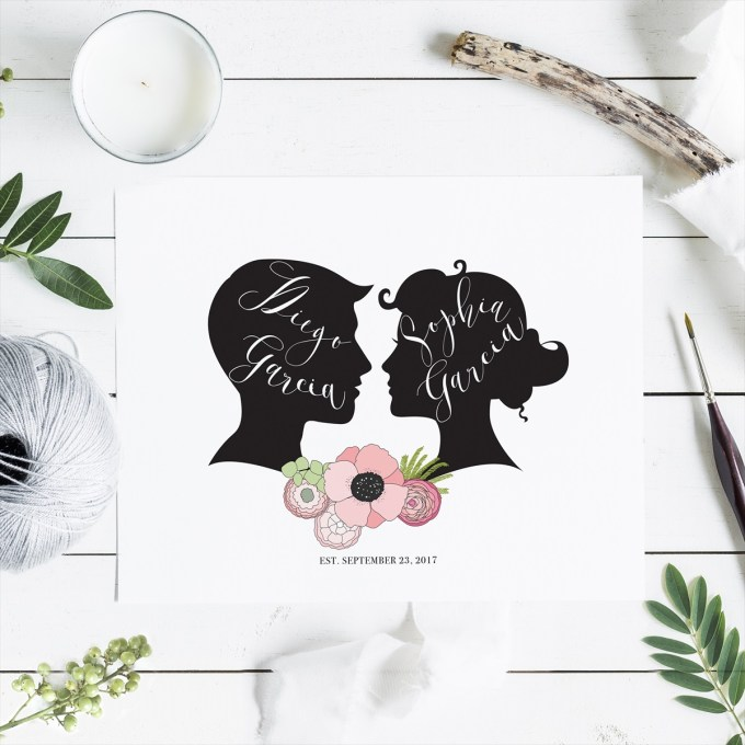 wedding silhouette poster