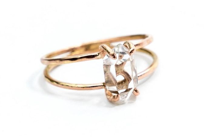 herkimer diamond engagement ring via https://etsy.me/2LHRmmL
