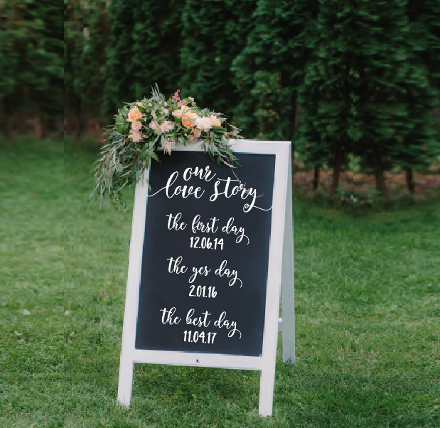 wedding decal first day yes day best day sign
