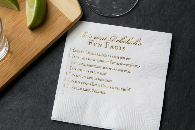 fun facts wedding napkins