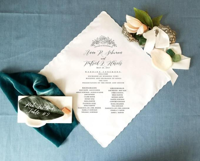 ceremony program handkerchief