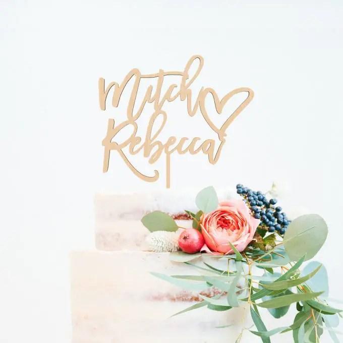 custom wedding cake topper with names