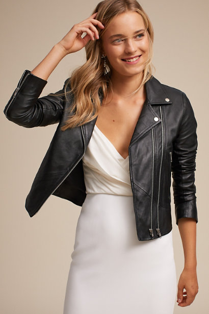 wedding leather jacket for the bride
