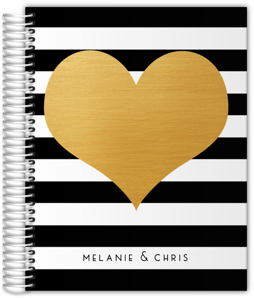 black and white striped with gold heart