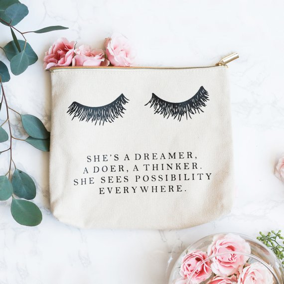 happy girls are the prettiest makeup bags