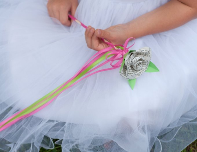 flower girl ribbon wand