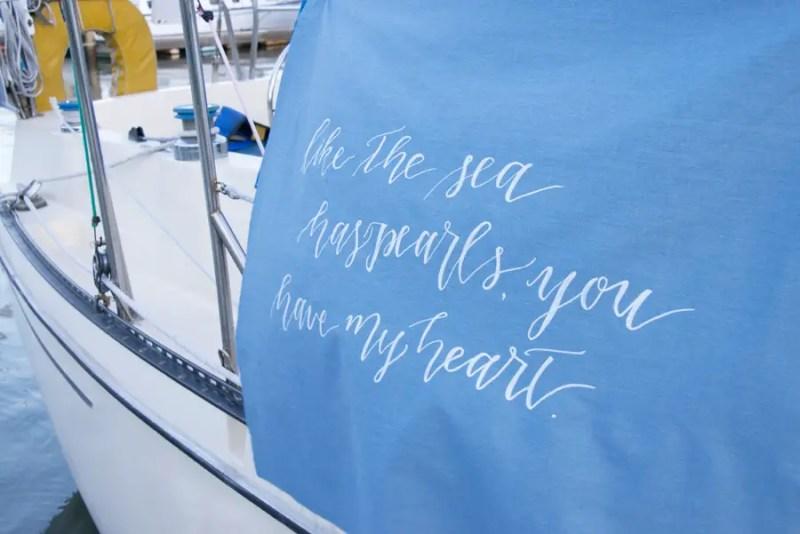 As the Sea Has Pearls, You Have My Heart | photo: christine glebov | linen calligraphy: a quaint soiree | via A Dreamy Seaside Wedding Shoot at Glen Cove Marina http://emmalinebride.com/real-weddings/seaside-wedding-glen-cove-marina/