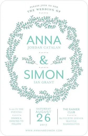 Encircled Forever Letterpress Invitations Weddings in Aqua