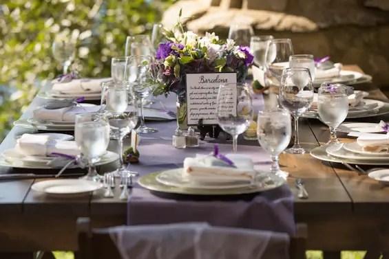Johnstone Studios - lake tahoe wedding - purple wedding table decor