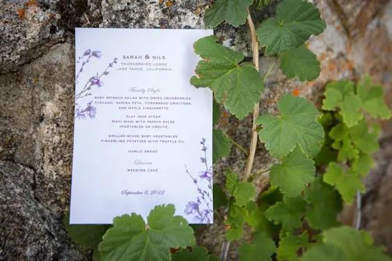 Johnstone Studios - thunderbird lodge wedding - personalized wedding menu