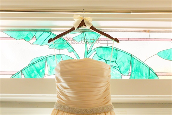 Filda Konec Photography - bride's wedding dress with custom name hanger