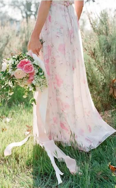 Pretty Pink Floral Print Bridesmaid Dresses