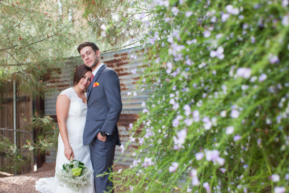 rustic chic arizona wedding bride and groom at the Shenandoah Mill