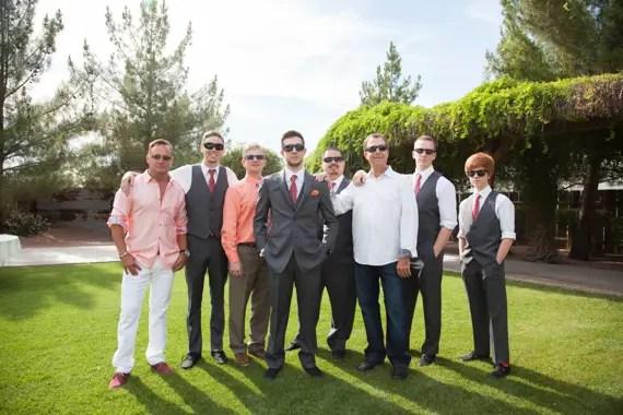rustic chic DIY arizona wedding at Shenandoah Mill groom, groomsmen, fathers