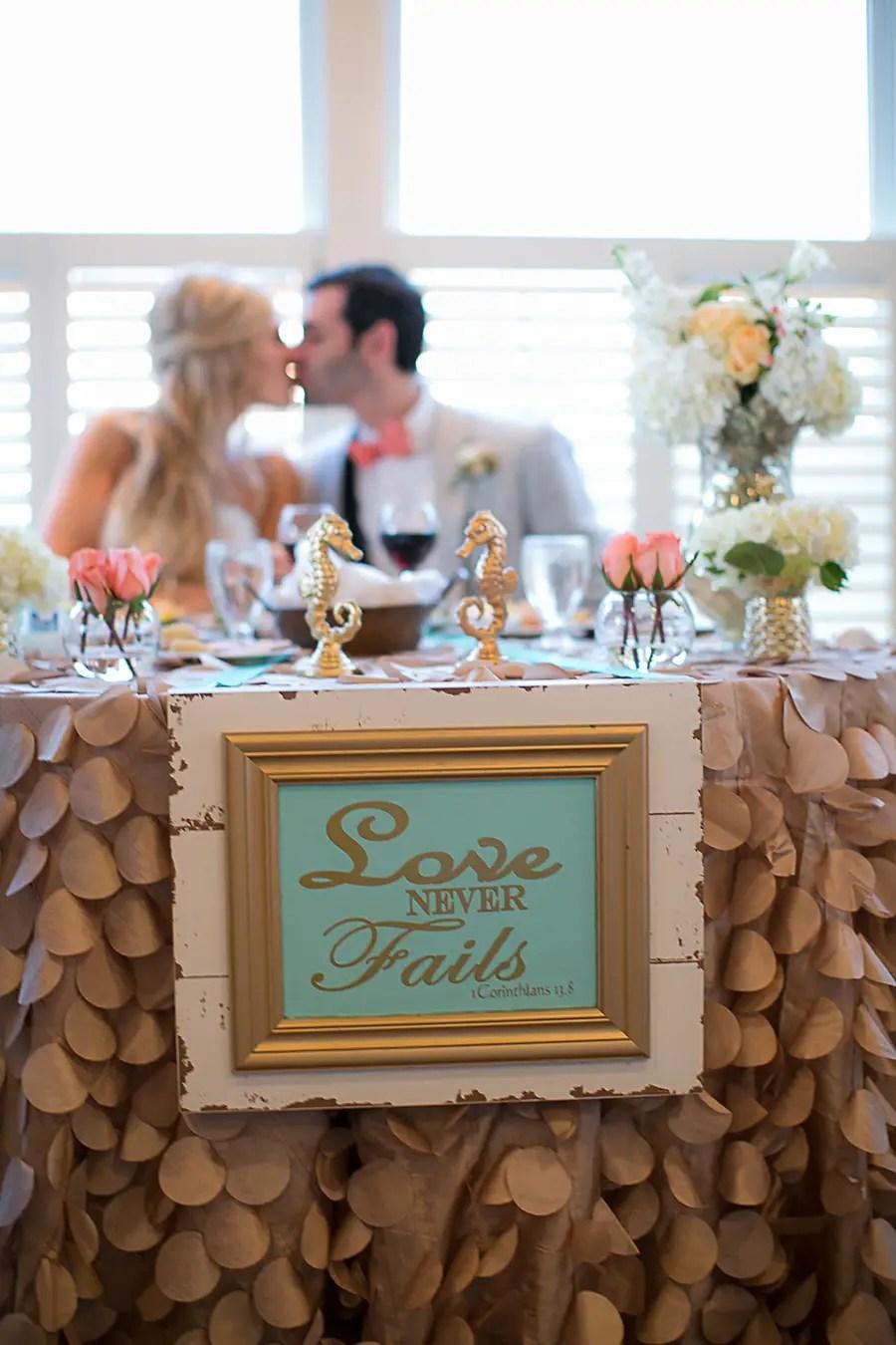 The Bride and Groom - Head Table - Bald Head Island Wedding - Photo by Eric Boneske