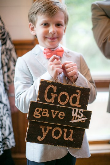 The Ring Bearer Carried this Cute 'God Gave Us You' Sign Down the Aisle - Bald Head Island Wedding - Photo by Eric Boneske
