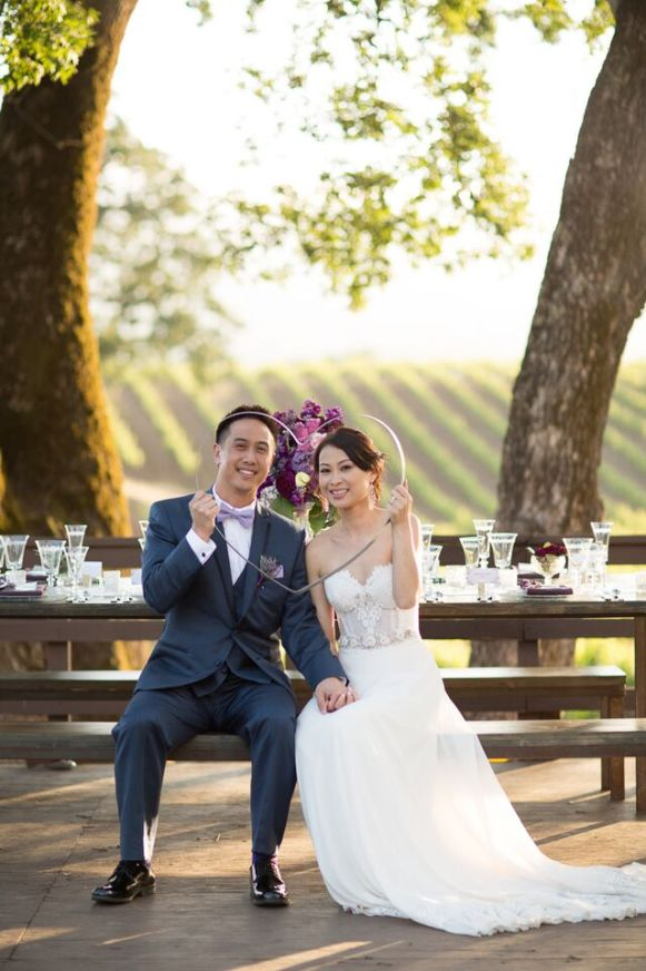Winery Styled Wedding Shoot - Bride and Groom Holding Heart