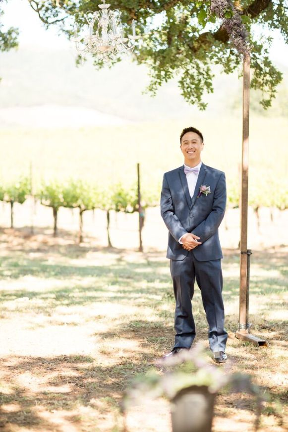 Winery Styled Wedding Shoot - Groom Waiting for His Bride Down the Aisle