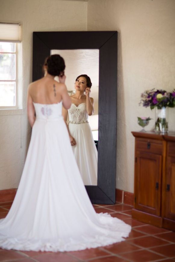 Winery Styled Wedding Shoot - The Bride Looking in Mirror