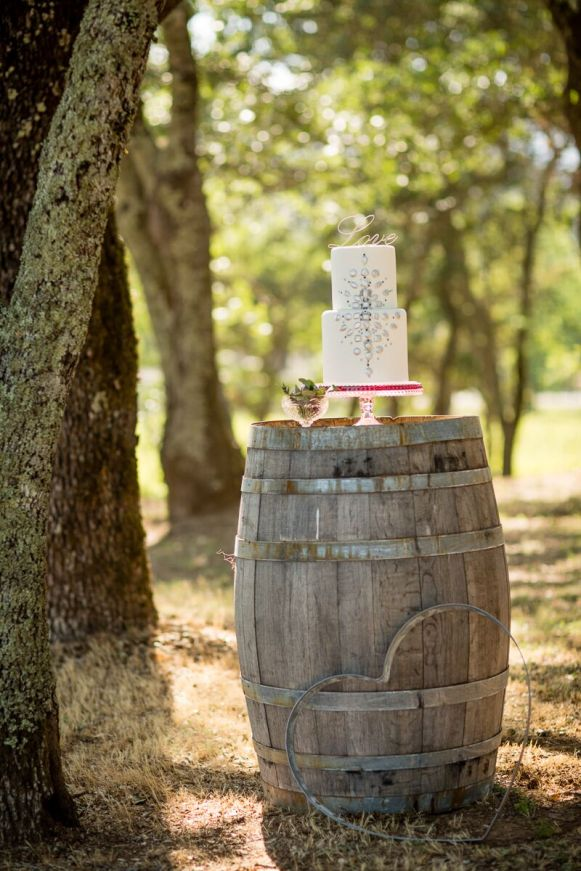 Winery Styled Wedding Shoot - Wedding Cake on Wine Barrel