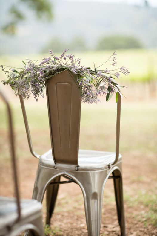 Winery Styled Wedding Shoot - lavender to decorate the ceremony chairs
