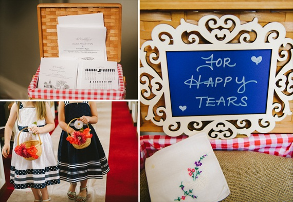 americana-wedding-flower-girl-dresses-happy-tears-handkerchief (photo: michelle gardella)