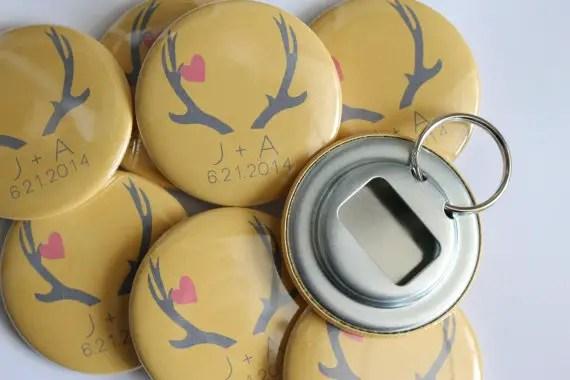 antler wedding favor bottle openers by big yellow dog designs