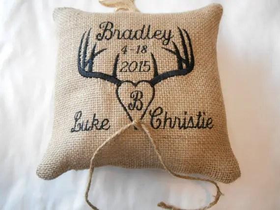 antler wedding pillow by BridalbyVanessa