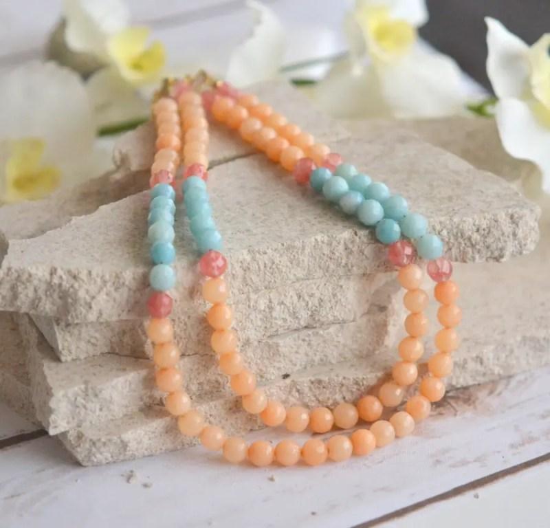 aqua and orange necklace | via Best Aquamarine Jewelry Finds on Etsy - http://emmalinebride.com/bride/best-aquamarine-jewelry/
